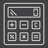 Calcule la línea icono, negocio y calculadora ilustración del vector