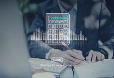 Calcule o conceito da matemática da finança da contagem da calculadora imagens de stock