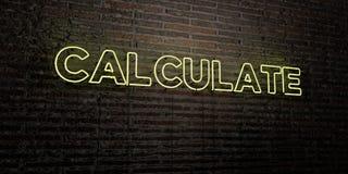 CALCULE - señal de neón realista en fondo de la pared de ladrillo - la imagen común libre rendida 3D de los derechos stock de ilustración