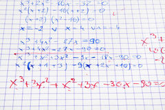 Calculs de maths écrits par main Photo libre de droits
