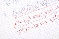 Calculs de maths écrits par main Image libre de droits