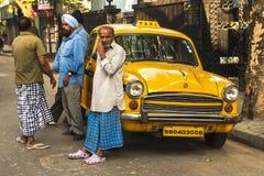 Calcutta characteristic yellow cabs Stock Image