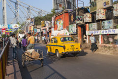 Calcutta characteristic yellow cabs Stock Images