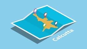 Calcutta la India explora la ubicación de los mapas con el mapa doblado y fija el destino del fabricante de la ubicación en estil ilustración del vector