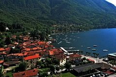 Caldé. Lake Maggiore Lombardia lake city summer country  colors boat Stock Photos