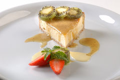 Calda de Kiwi de Torta de ricota com Photo libre de droits