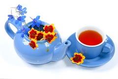Caldaia blu con i fiori e la tazza di tè Immagini Stock