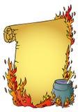 Caldaia della strega e della pergamena Illustrazione di Stock