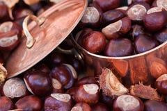 caldaia di immagine del rame di concetto delle castagne di autunno Fotografie Stock Libere da Diritti