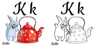 caldaia Lettera K, pagina di coloritura di alfabeto di vettore Illustrazione Vettoriale