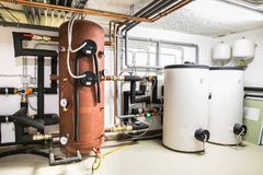 caldaie e sistema di riscaldamento con il regolamento Immagini Stock Libere da Diritti
