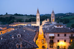 Caldarola medieval village in Italy. Night shot of the medieval village of Caldarola. Marche Region, Italy Royalty Free Stock Image