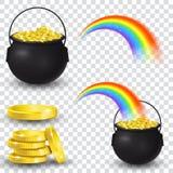 Caldeirão completamente de moedas e de arco-íris de ouro ilustração do vetor