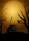 Caldeirão mystical de Halloween Fotos de Stock Royalty Free