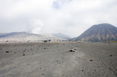 Caldeira of Bromo's volcano and Batok cone Royalty Free Stock Photos