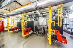 Caldeira de gás interior com três caldeiras Imagens de Stock Royalty Free