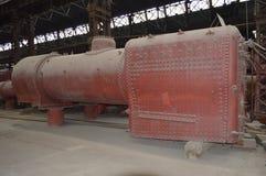 Caldeira e firebox do motor de vapor de modo operacional Foto de Stock Royalty Free