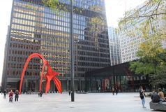 Calder skulptur, federal Plaza, Chicago arkivbild