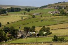 Calder Valley och stugor i Yorkshire royaltyfria bilder