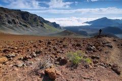 Caldera av den Haleakala vulkan i den Maui ön Royaltyfri Fotografi