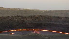 Caldera av Volcano Erta Ale lager videofilmer