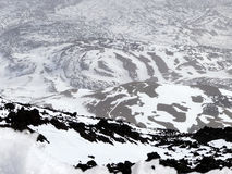 Caldera av vulkan Pico del Teide, arkivfoto
