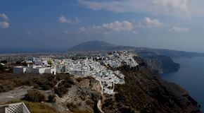 Caldera of Santorini main island stock photo