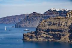 Caldera Cliffs. A view of cruise ships and Caldera Stock Image