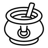 Caldera con el icono de la sopa, estilo del esquema stock de ilustración