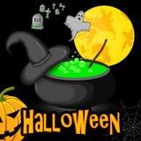 caldera de Halloween del cartel con noche del sombrero de la bruja debajo de la luna Imágenes de archivo libres de regalías
