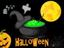 caldera de Halloween del cartel con noche del sombrero de la bruja debajo de la luna Foto de archivo libre de regalías