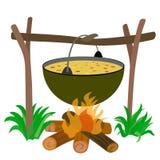 Caldera de la sopa en hoguera Fotografía de archivo libre de regalías