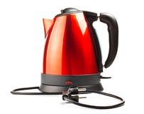 Caldera de té eléctrica roja y negra Imágenes de archivo libres de regalías