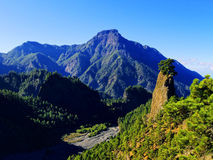 Caldera de Taburiente nationalpark på La Palma arkivbilder