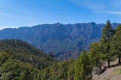 Caldera de Taburiente på La Palma, kanariefågelöar, Spanien royaltyfri fotografi