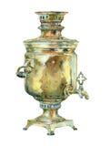 Caldera del vintage de la acuarela (samovar) Foto de archivo libre de regalías