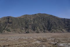 Caldera di Bromo invasa con asciutto e Sandy Grass immagine stock