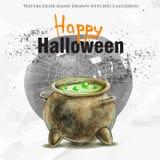 Caldera dibujada mano de la bruja de la acuarela con el veneno verde Foto de archivo libre de regalías