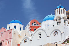 Caldera with domes. Santorini - view of caldera with domes royalty free stock photos