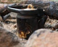 Caldera en el fuego Imagen de archivo libre de regalías