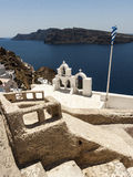 Caldera at Oia, Santorini with typical bells Stock Images