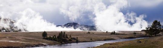 caldera panorama- yellowstone Arkivfoton