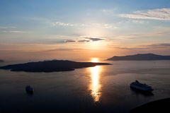 Caldera  Santorini island at sunset. Stock Photos