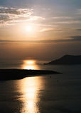 Caldera Santorini island at sunset Royalty Free Stock Images