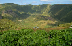 Caldera seca. Volcanic crater in Faial island, Azores, Portugal Royalty Free Stock Photos