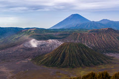 Caldera Tengger, Bromo, Batok and Semeru. Caldera Tengger, Bromo, Batok and Semeru volcanoes at Java island in Indonesia Royalty Free Stock Images