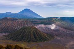 Caldera Tengger, Bromo, Batok and Semeru. Caldera Tengger, Bromo, Batok and Semeru volcanoes at Java island in Indonesia. Version 2 royalty free stock photo