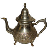 Caldera, turco, té, tetera, lámpara de Aladín, fiesta del té, del este, marroquí, histórico, de cobre amarillo, hecha a mano Fotos de archivo libres de regalías