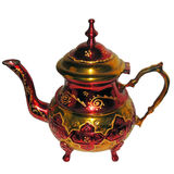 Caldera, turco, té, tetera, lámpara de Aladín, fiesta del té, del este, marroquí, histórico, de cobre amarillo, hecha a mano Imágenes de archivo libres de regalías