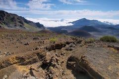 Caldera van de Haleakala-vulkaan in het eiland van Maui Royalty-vrije Stock Fotografie